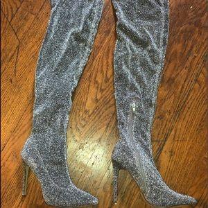 Marlin Silver Glitter Thigh High Boots